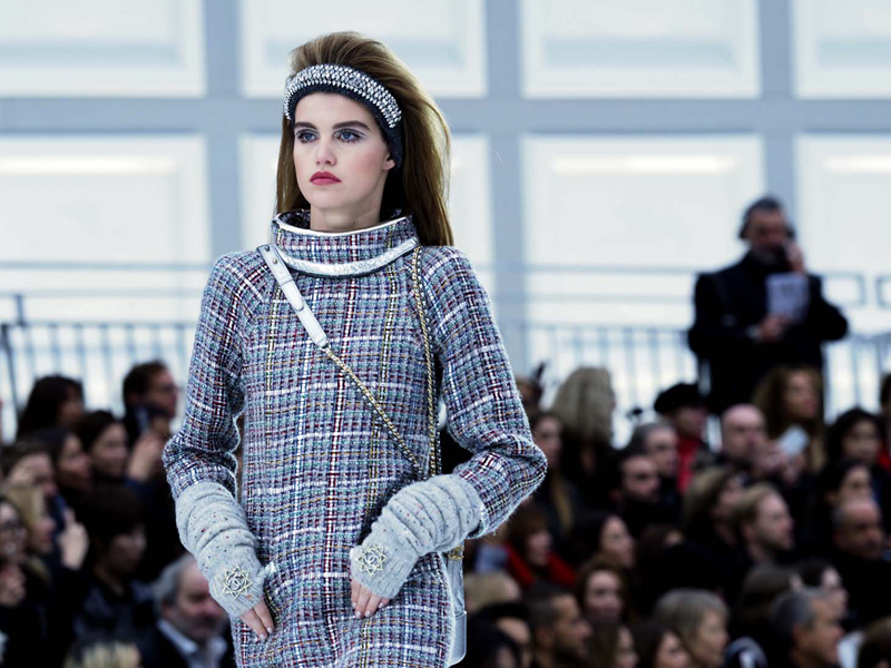 A model wears a creation for Chanel's Fall-Winter 2017/2018 ready-to-wear fashion collection presented Tuesday, March 7, 2017 in Paris. (AP Photo/Thibault Camus)