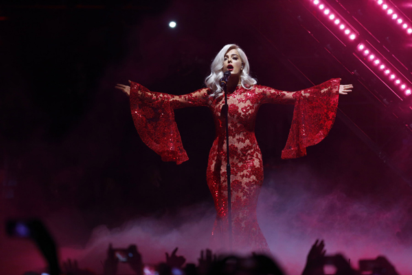 Presenter Bebe Rexha performs during the MTV European Music Awards 2016, in Rotterdam, Netherlands, Sunday, Nov. 6, 2016. (AP Photo/Peter Dejong)