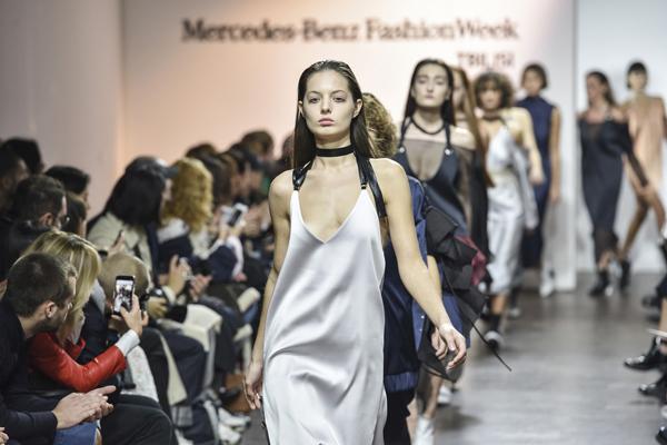 A model presents Mercedes-Benz Fashion Week in Georgia, on Nov. 6, 2016.