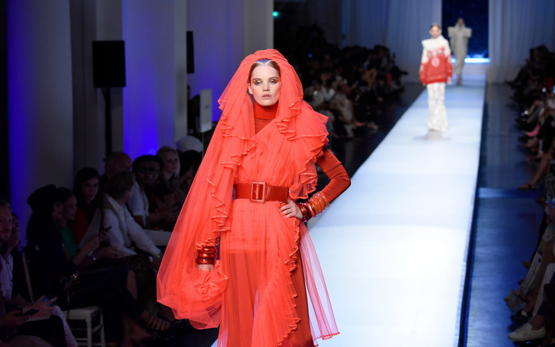 (170705) -- PARIS, July 5, 2017 (Xinhua) -- A model presents a creation of Jean Paul Gaultier during the Haute Couture 2017/18 Fall/Winter collection shows in Paris, France, on July 5, 2017. (Xinhua/Piero Biasion)