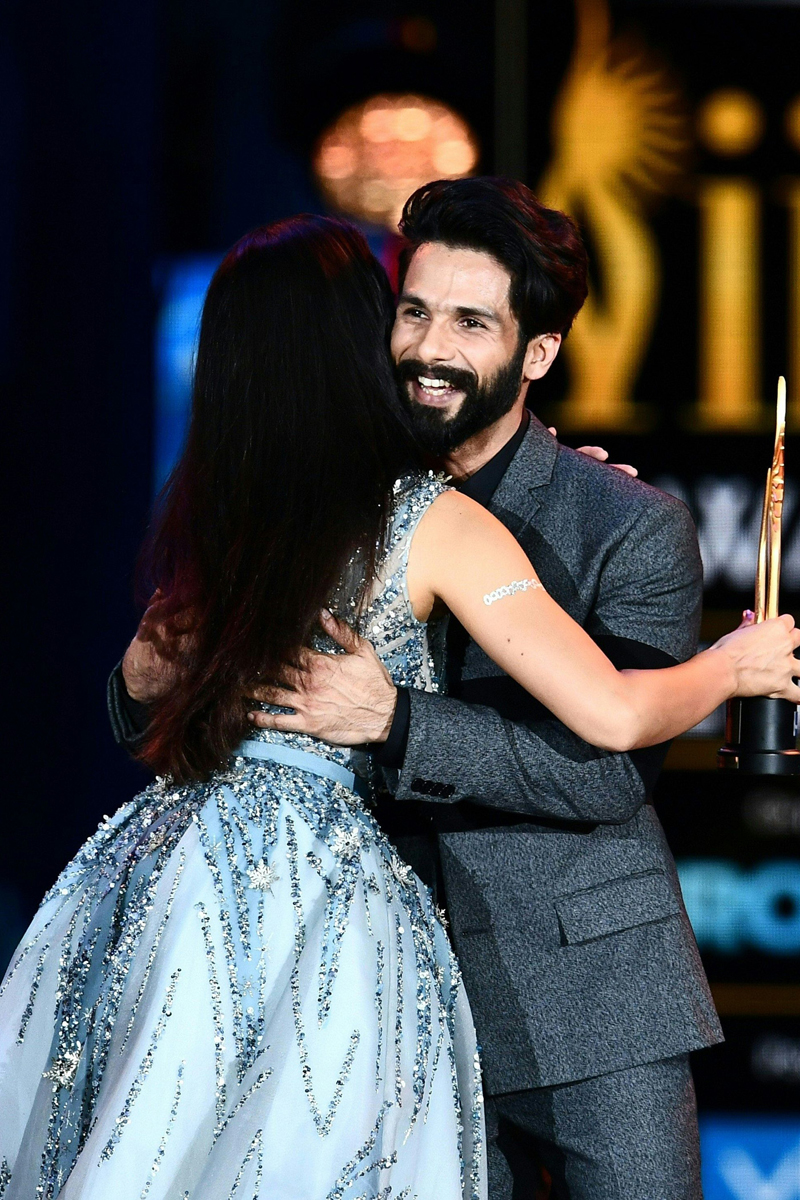 "Bollywood Actor Shahid Kapoor accepts his award for Best Actor on stage during the IIFA Awards July 15, 2017 at the MetLife Stadium in East Rutherford, New Jersey during the 18th International Indian Film Academy (IIFA) Festival.  Kapoor is the winner for ""Udta Punjab."" / AFP PHOTO / Jewel SAMAD"