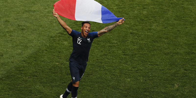 France's Corentin Tolisso celebrates at the end of the final match between France and Croatia at the 2018 soccer World Cup in the Luzhniki Stadium in Moscow, Russia, Sunday, July 15, 2018. (AP Photo/Rebecca Blackwell)