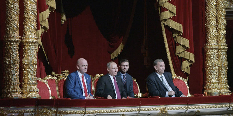 Russian President Vladimir Putin, center, FIFA President Gianni Infantino, left, and Director of the Bolshoi Theater Vladimir Urin, right, attend the gala-concert dedicated to the closing of FIFA Soccer World Cup at the Bolshoi Theater in Moscow, Russia, Saturday, July 14, 2018. (Alexei Druzhinin/Sputnik Kremlin via AP, Pool)