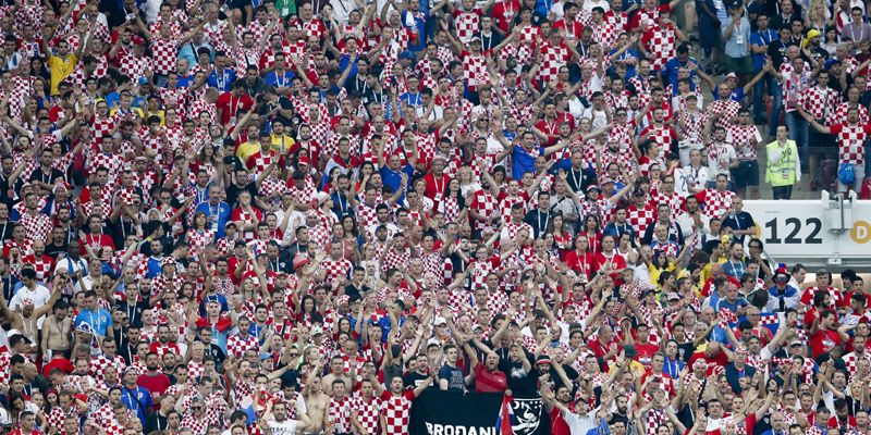 Croatia fans follow the final match between France and Croatia at the 2018 soccer World Cup in the Luzhniki Stadium in Moscow, Russia, Sunday, July 15, 2018. (AP Photo/Petr David Josek)