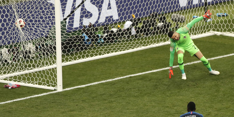 Croatia goalkeeper Danijel Subasic fails to stop France's Paul Pogba's goal during the final match between France and Croatia at the 2018 soccer World Cup in the Luzhniki Stadium in Moscow, Russia, Sunday, July 15, 2018. (AP Photo/Frank Augstein)